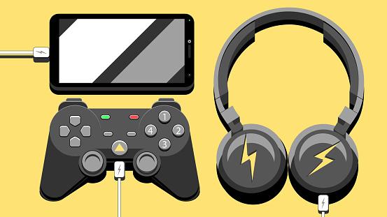 Modern simple vector composition illustration - Electronic entertainment gadgets.