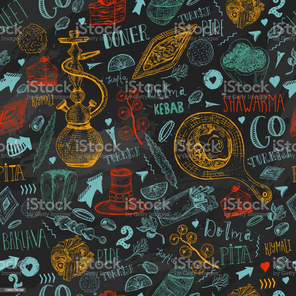 Modern sketch Turkish food seamless pattern with lettering and beverages with Kebab, Dolma, Shakshuka, shisha. Freehand vector doodles isolated on dark background vector art illustration