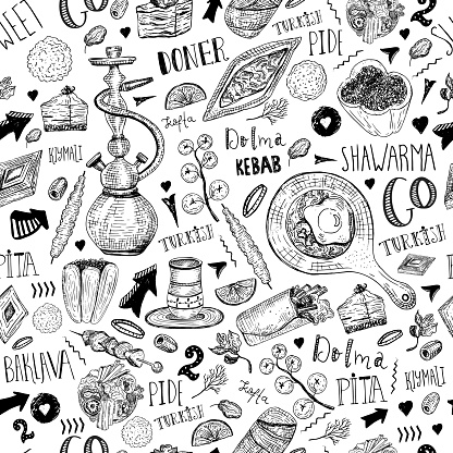 Modern sketch Turkish food seamless pattern with lettering and beverages with Kebab, Dolma, Shakshuka, shisha. Freehand vector doodles isolated on white background