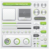 A set of modern skeuomorphic graphical user interface with minimal light and shadow effects in white, green & black colors. Each element is grouped individually.