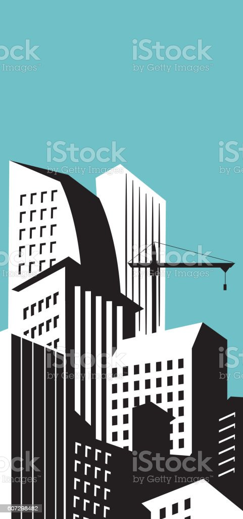 Modern skyscrapers in business district vector vector art illustration