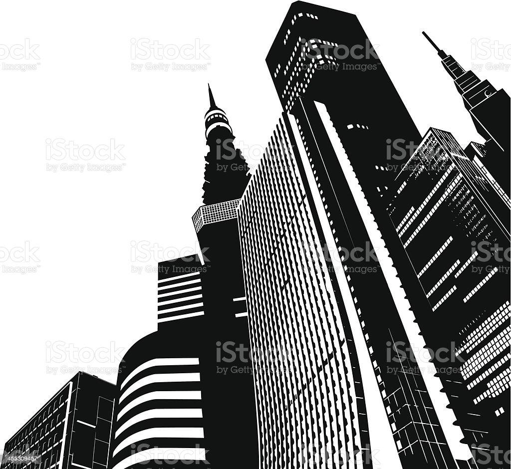 モダンな高層ビル群東京 イラストレーションのベクターアート素材や