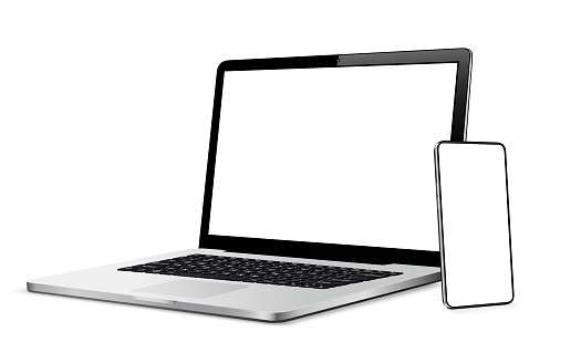 Modern smart phone and laptop with blank touch screen