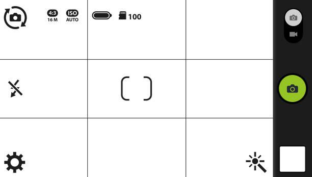 ilustraciones, imágenes clip art, dibujos animados e iconos de stock de pantalla de enfoque moderno smartphone cámara - zoom call