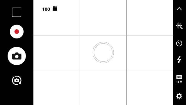 modernen smartphone kamera mattscheibe - fotohandy stock-grafiken, -clipart, -cartoons und -symbole