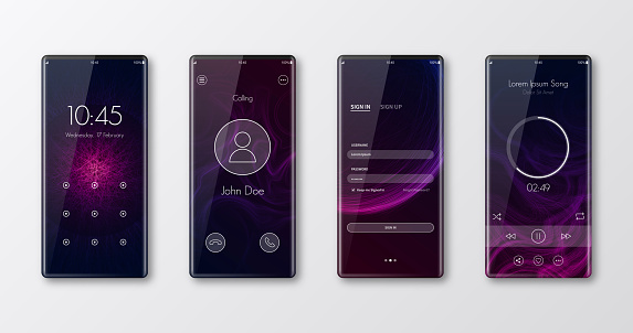Modern smartphone templates isolated on white - UI and trendy backgrounds