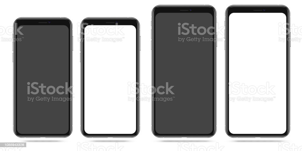 Modern Smartphone with Blank Black and White Screen vector art illustration