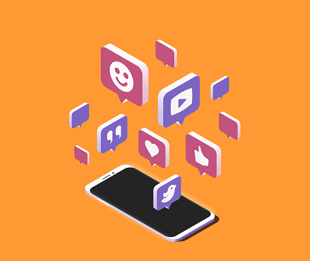 Modern smartphone with cloud of social media speech bubbles over it. Isometric vector illustration