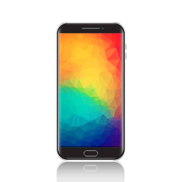 Moderno smartphone con protector de pantalla geométrica poligonal. Detalle celular negro realista, teléfono móvil aislado sobre fondo blanco - ilustración de arte vectorial