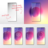 Modern and realistic mobile phones with beautiful UI and a trendy background. Included in the bundle, a smartphone with a blank screen isolated on a blank background, for your own design (top left of the illustration). The layers are named to facilitate your customization. Vector Illustration (EPS10, well layered and grouped). Easy to edit, manipulate, resize or colorize. Please do not hesitate to contact me if you have any questions, or need to customise the illustration. http://www.istockphoto.com/portfolio/bgblue