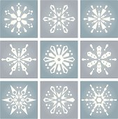 Nine different snowflakes with clean, geometric lines...a nice option to ornate snowflakes.