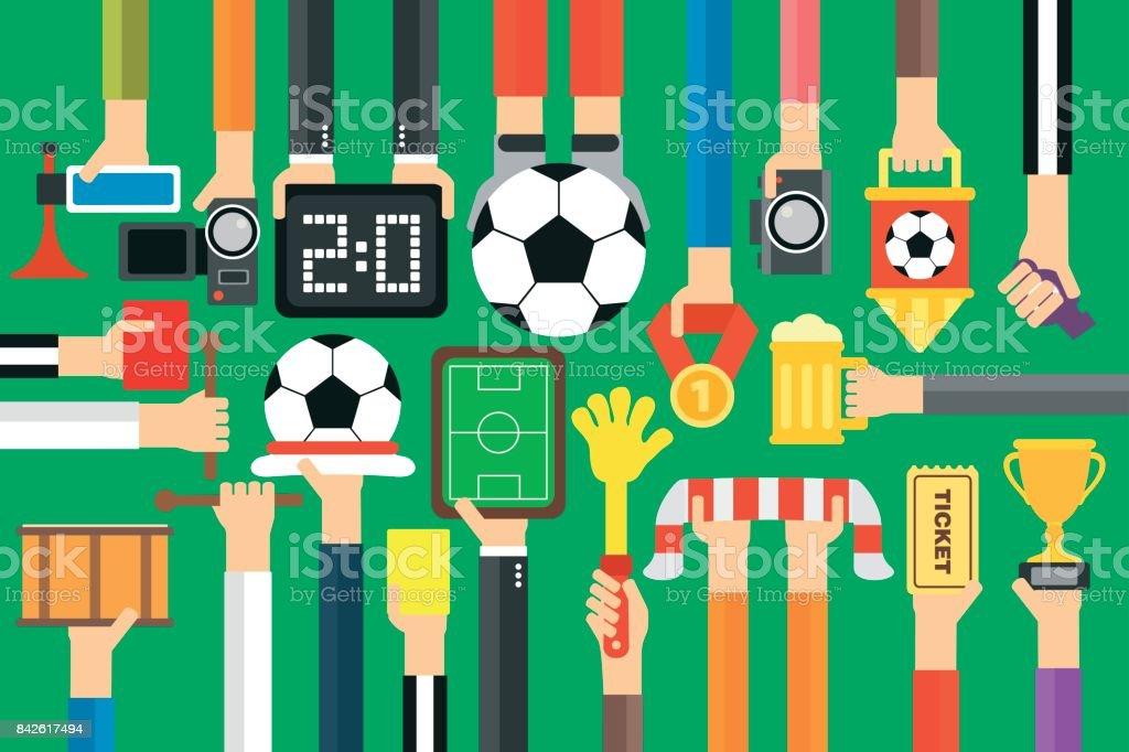 Fútbol moderno ventilador diseño plano conjunto - ilustración de arte vectorial