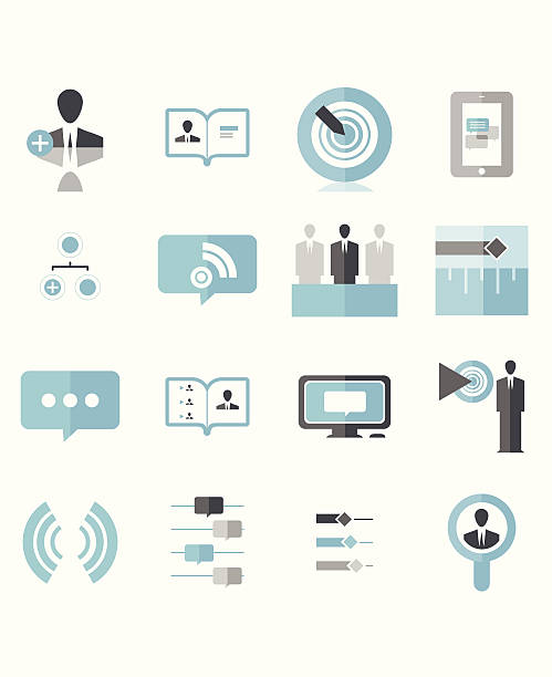 Modern Social Business Icons vector art illustration