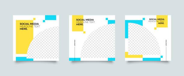 Modern social media post template Modern promotion square web banner for social media mobile apps. Elegant sale and discount promo backgrounds for digital marketing business borders stock illustrations
