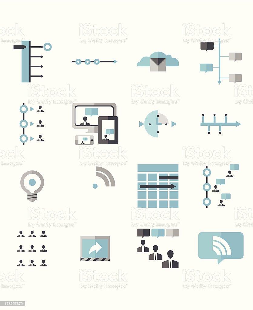 Modern Social Media Timeline Icons vector art illustration