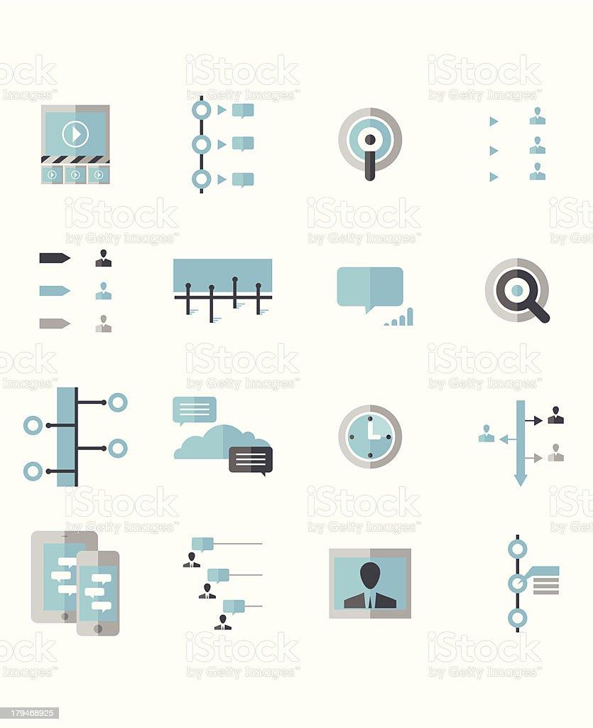 Modern Social Timeline Icons vector art illustration
