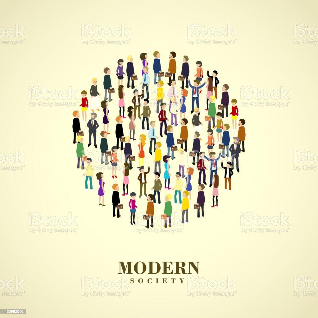 modern society concept vector art illustration