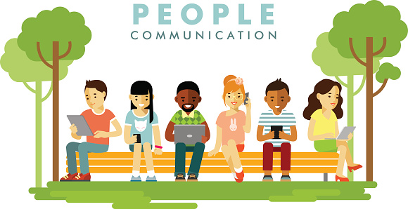 Modern society. People communication concept in flat style clipart