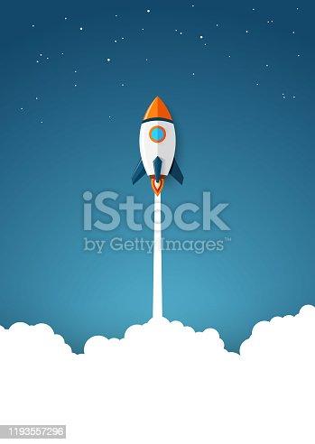 Vector illustration of Modern space rocket with flat design