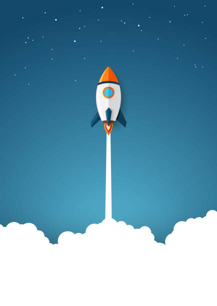 Modern space rocket with flat design Vector illustration of Modern space rocket with flat design rocket stock illustrations