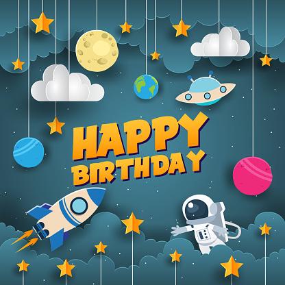 Modern Space Scientist Paper Art Style Happy Birthday Card Illustration