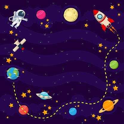 Modern Space Theme Copyspace Card Illustration