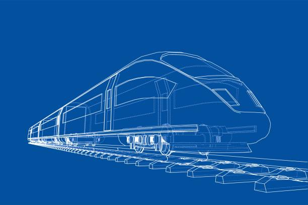 illustrations, cliparts, dessins animés et icônes de concept de train de vitesse moderne. vector - train