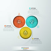 Modern spiral infographics options banner for 3 steps. Vector illustration. can be used for workflow layout, diagram, number options, web design.