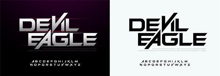 Modern sport typography fonts technology, digital, movie logo. Alphabet Silver Metal Regular Font. vector illustration