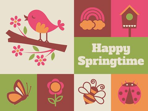 Modern Springtime minimal greeting card