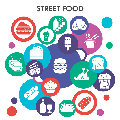 Modern Street food Infographic design template. Takeaway Infographic visualization bubble design on white background. Junk food template for presentation. Creative vector illustration for infographic.
