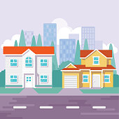 A flat modern street illustration with different house.