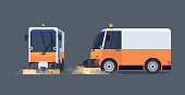 modern street sweeper truck front and side view industrial vehicle cleaning machine urban road service concept flat horizontal vector illustration