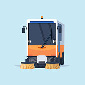 modern street sweeper truck industrial vehicle cleaning machine urban road service concept flat vector illustration