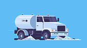 modern street sweeper truck washing asphalt with water industrial vehicle cleaning machine urban road service concept flat blue background horizontal vector illustration