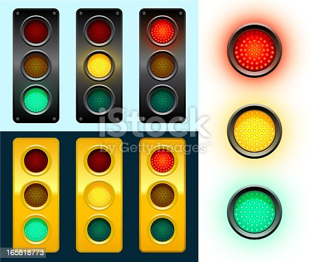 LED Modern Street Traffic Lights Background. This 100% editable royalty free vector illustration has multiple variations of a traffic light. The street traffic light has green, yellow and red on and off variations. Individual lights are also included on the right side of this graphic.