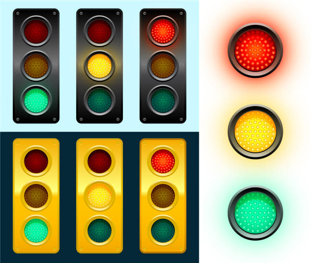 led modern street traffic lights background - stoplights stock illustrations, clip art, cartoons, & icons
