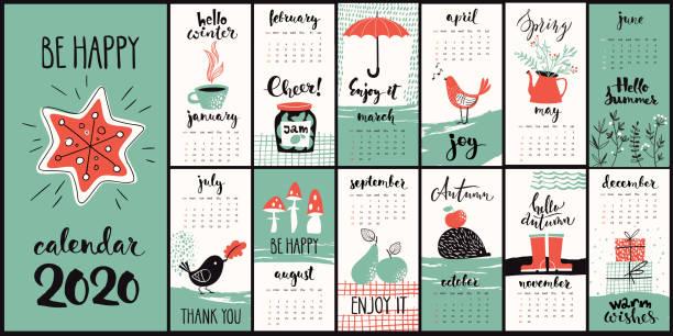 ilustraciones, imágenes clip art, dibujos animados e iconos de stock de estilo moderno dibujado a mano vector de dibujos animados 2020 calendario con símbolos mensuales - calendario de flores