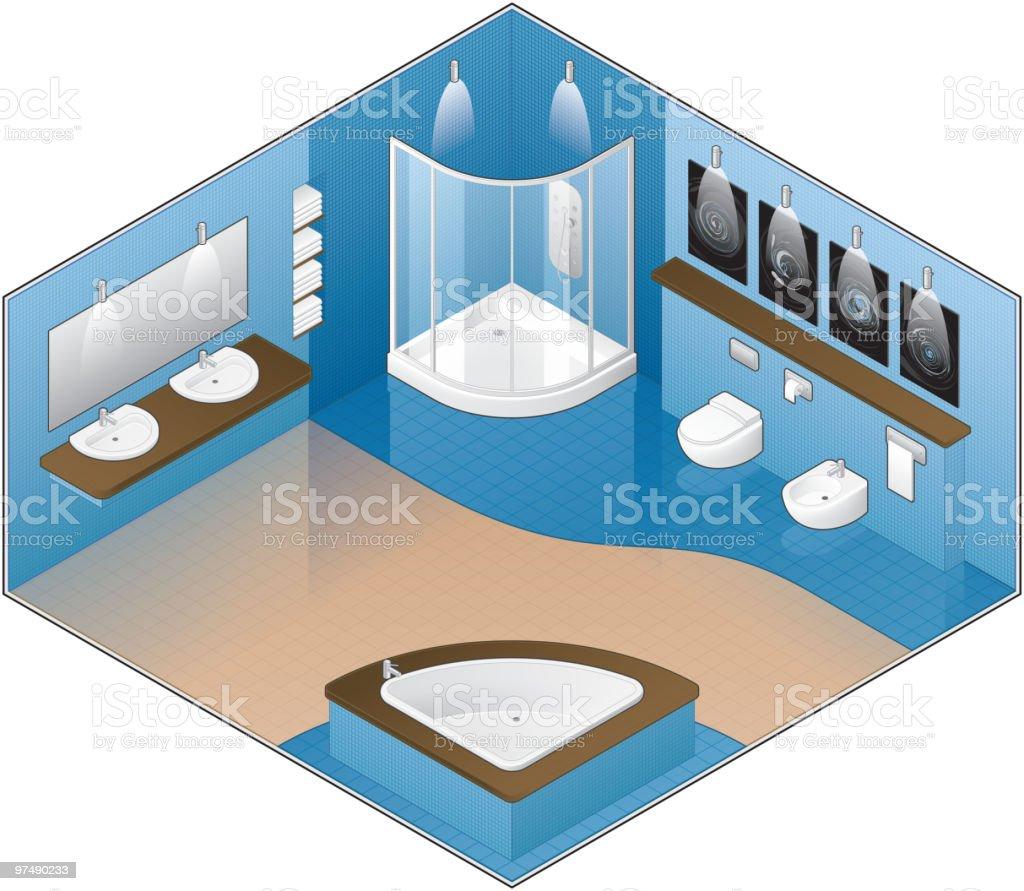 Badewanne, Badezimmer, Dusche, Freistehende Badewanne, Toilette. Modernes  Großes Badezimmer Lizenzfreies Vektor Illustration