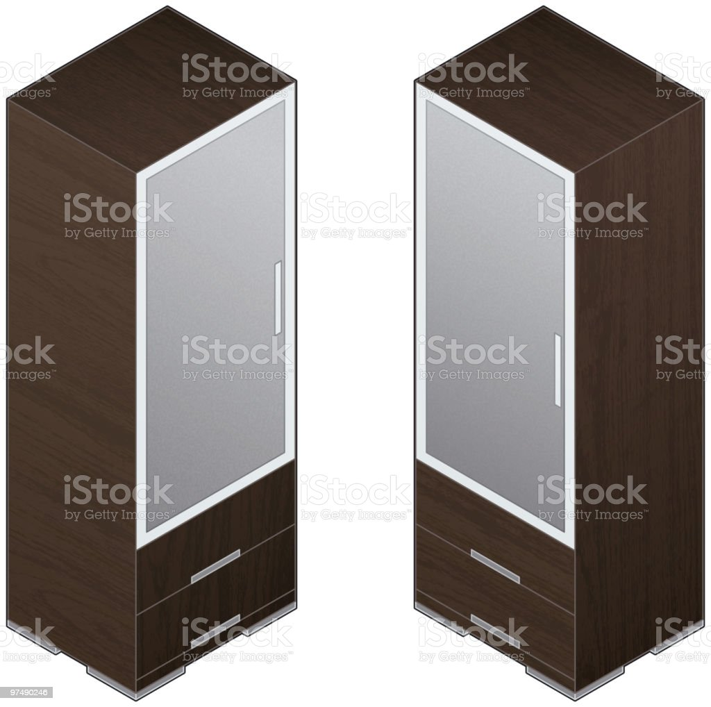 Modern Style Large Wooden Closets royalty-free stock vector art
