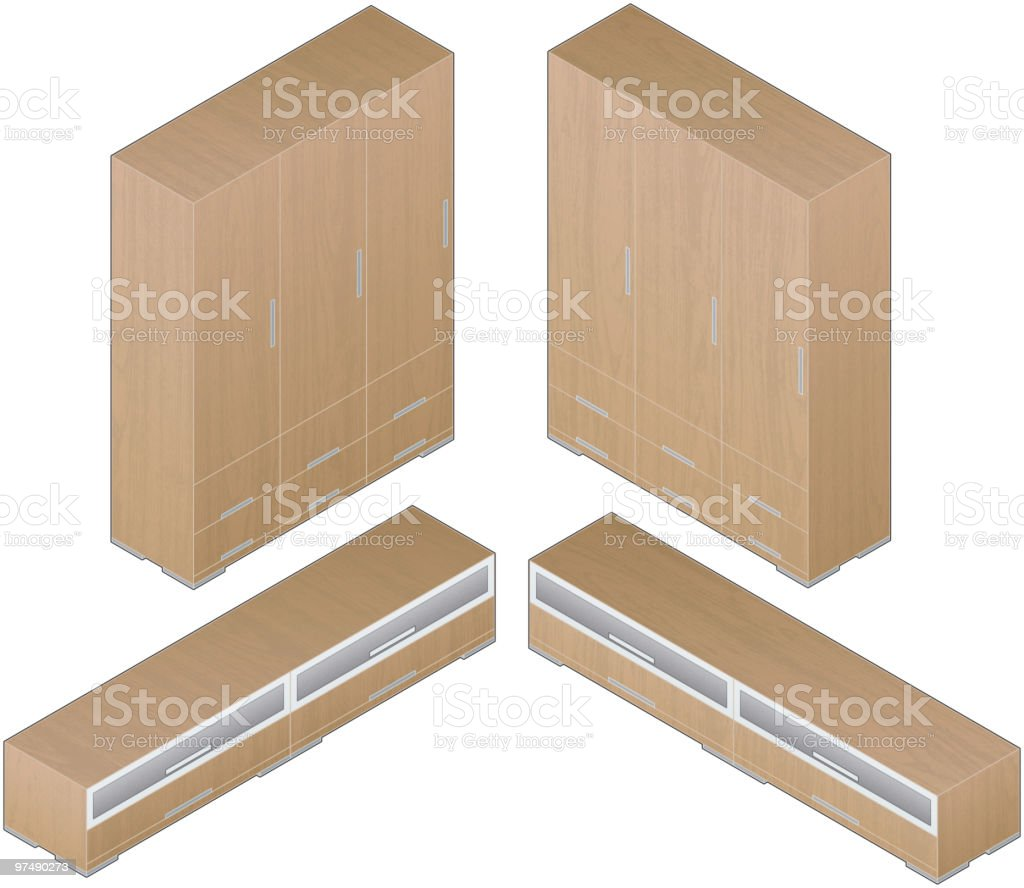 Modern Style Large Wooden Closets royalty-free modern style large wooden closets stock vector art & more images of aluminum