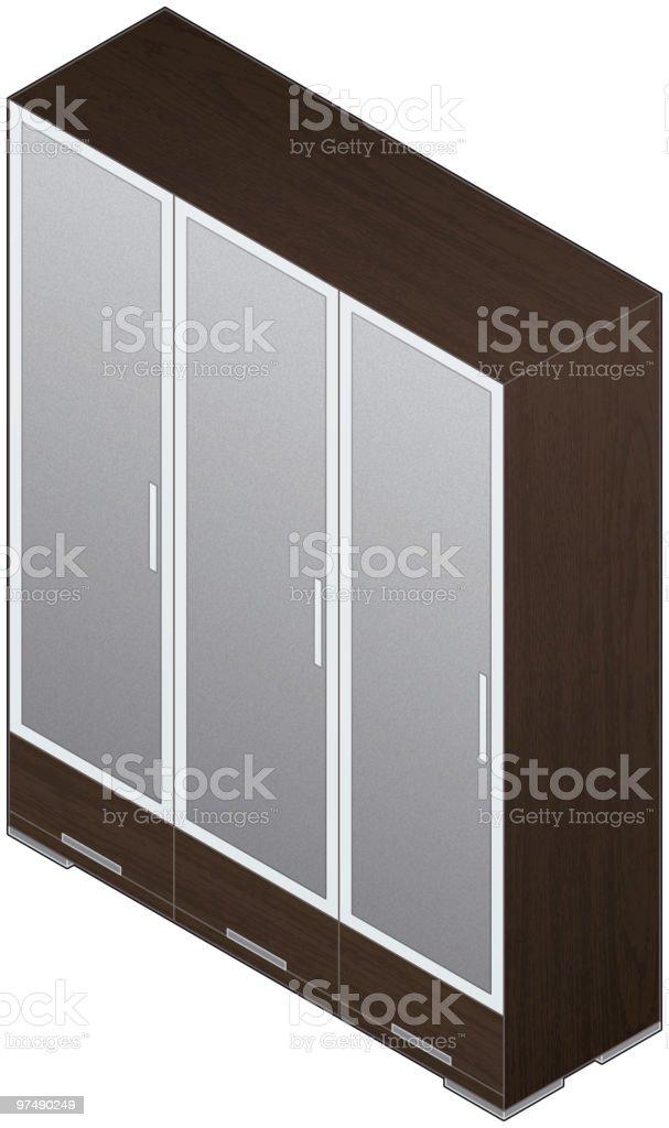 Modern Style Large Wooden Wardrobe (aluminum finish and glass doors) royalty-free modern style large wooden wardrobe stock vector art & more images of aluminum