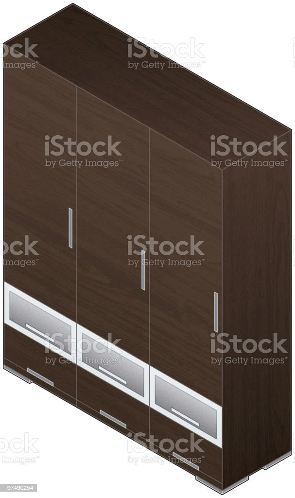 Modern Style Large Wooden Wardrobe with aluminum finish (glass doors) royalty-free modern style large wooden wardrobe with aluminum finish stock vector art & more images of aluminum