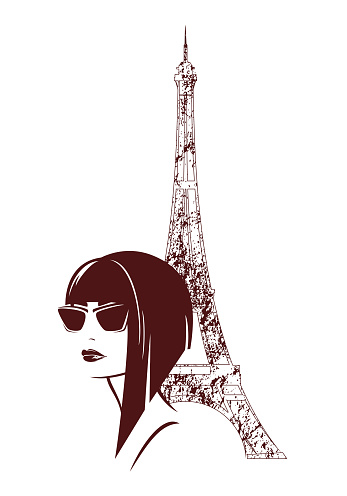 modern style woman in Paris vector fashion portrait
