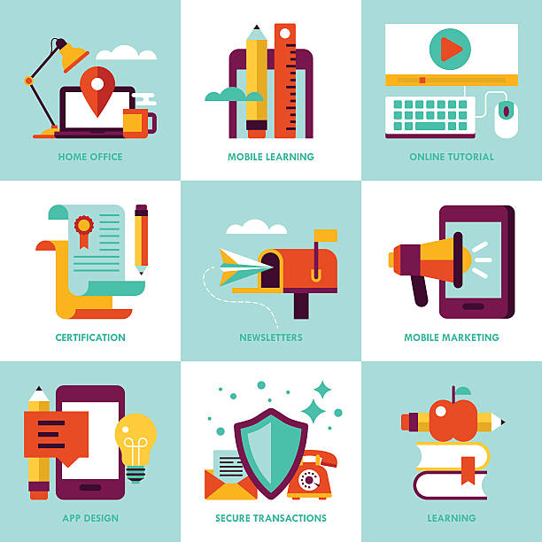 modern stylish icons for web graphics and logo design - working from home stock illustrations