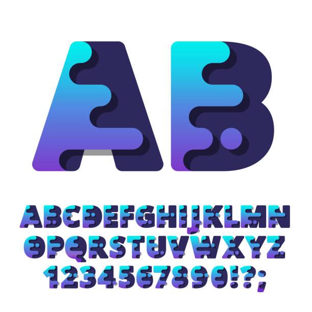 Fuente del moderno Alfabeto estilizado de líquido. - ilustración de arte vectorial