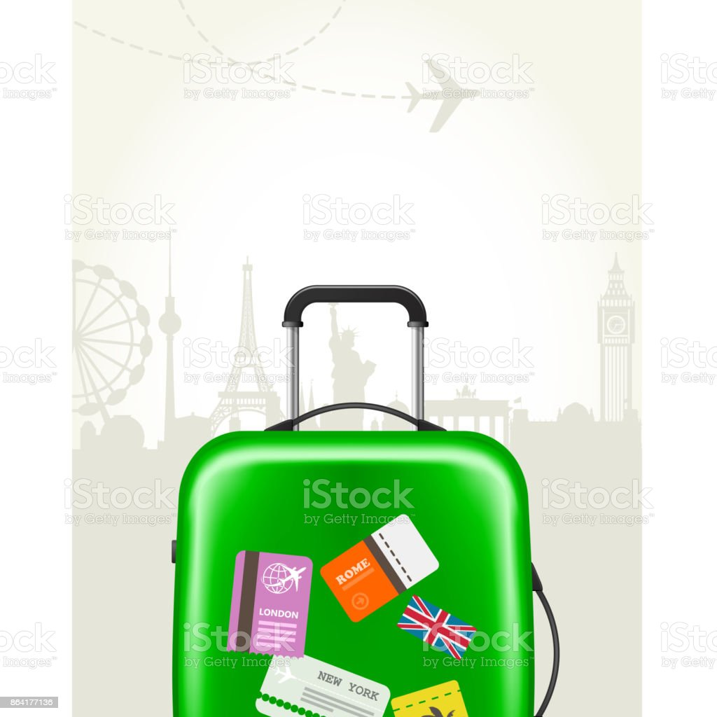 Modern suitcase with travel tags - journey baggage royalty-free modern suitcase with travel tags journey baggage stock vector art & more images of bag