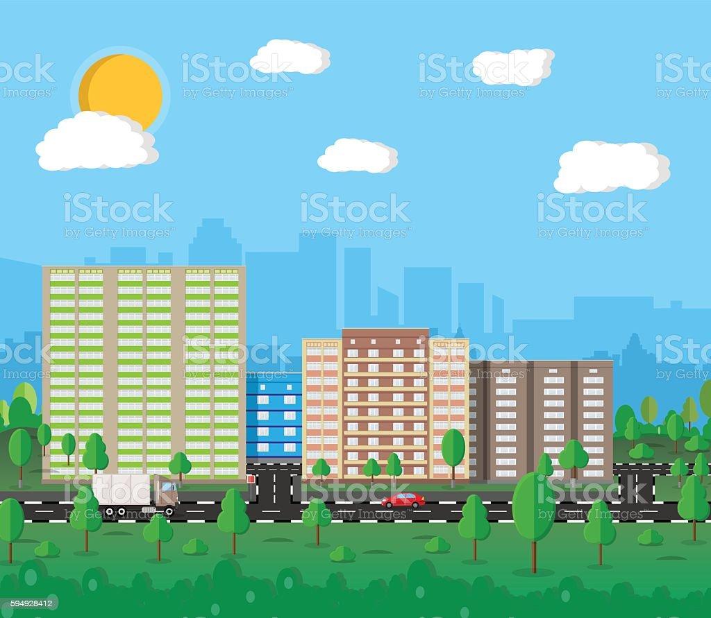 Modern Summer City View Citysc...