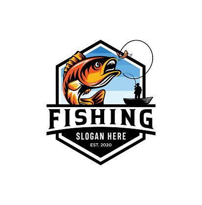 Modern summer fishing   Mascot badge Vector Design illustration