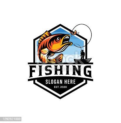 istock Modern summer fishing   Mascot badge Vector Design illustration 1292521003